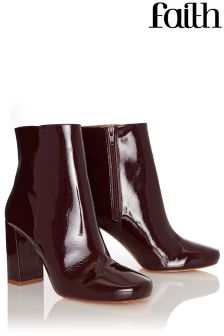 Faith Patent Heeled Ankle Boots