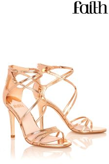 Faith Strappy Metallic Heeled Sandals