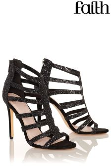 Faith Caged Glitter Heeled Sandals