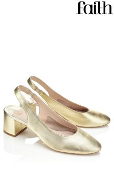 Faith Metallic Sling Back Pumps