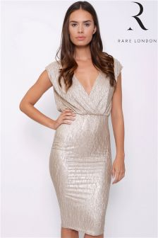 Rare Plunge Front Metallic Midi Dress