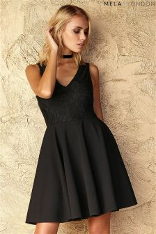 Mela Loves London Lace Contrast Skater Dress