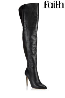 Faith Leather Over The Knee Boots