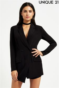 Unique 21 Lace Up Back Blazer Skorts Playsuit