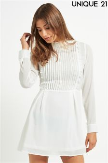 Unique 21 High Neck Pleated Skater Dress