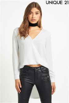 Wrap Front Blouse With Dipped Hem