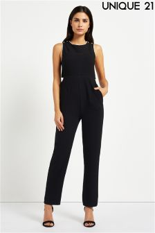 Unique 21 Cross Back Straight Leg Jumpsuit