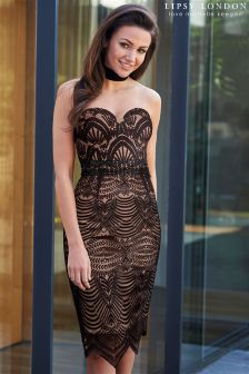 Lipsy Love Michelle Keegan Deco Embroidery Bandeau Dress
