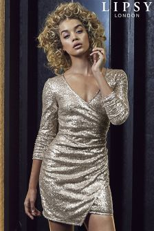Lipsy All Over Sequin Wrap Bodycon Dress