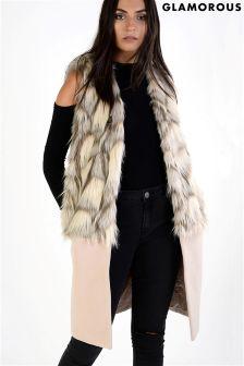 Glamorous Longline Fur Gilet