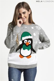 Mela Loves London Christmas Penguin Jumper
