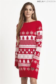 Mela Loves London Knitted Christmas Tree Jumper Dress