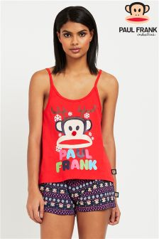 Paul Frank Ladies Christmas Vest And Cheeky Short PJ Set