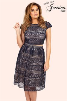 Jessica Wright Panelled Lace Midi Skirt