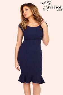 Jessica Wright Frill Hem Bodycon Midi Dress