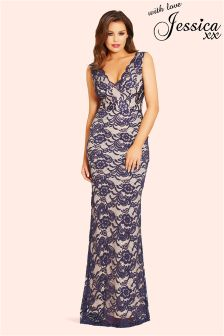 Jessica Wright Lace Back Keyhole Maxi Dress
