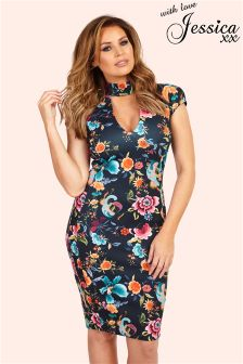 Jessica Wright Floral Print High Neck Plunge Bodycon Dress