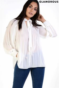 Glamorous Sheer Pleated Blouse