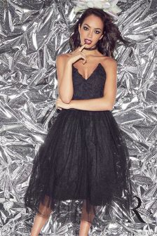 Rare Textured Bust Tutu Midi Dress