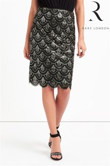 Rare Sequin Scalloped Hem Midi Skirt