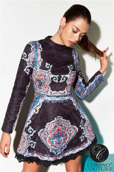 Comino Couture Long Sleeve Vintage Beaded Dress