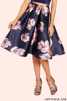 Sistaglam Floral Sateen Pleated Midi Skirt