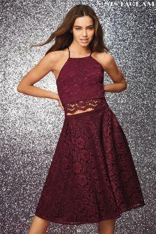 Sistaglam Floral Lace Midi Skirt