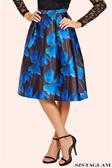Sistaglam Floral Sateen Pleated Midi Skirt