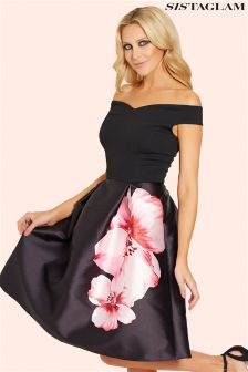 Sistaglam Floral Sateen Prom Dress