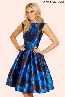 Sistaglam Floral Sateen Round Neck Prom Dress