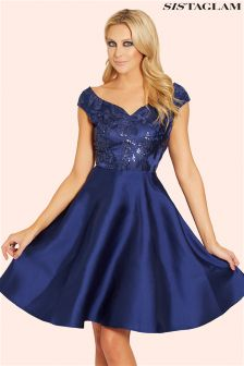 Sistaglam Embellished Sateen Prom Dress
