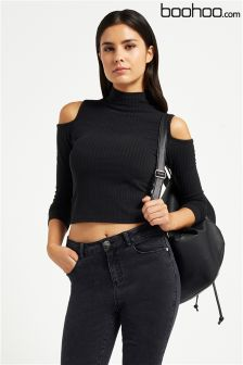 Boohoo Cold Shoulder High Neck Crop Top