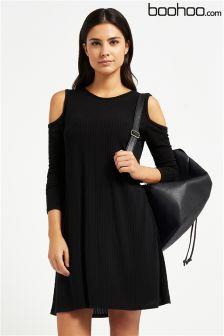 Boohoo Lily Cold Shoulder Soft Knit Rib Swing Dress