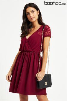 Boohoo Lace Sleeve Wrap Dress