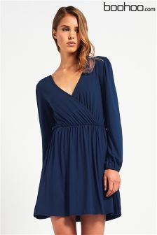Boohoo Long Sleeve Wrap Dress