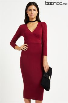 Boohoo Midi Wrap Dress