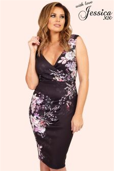 Jessica Wright Black Floral Print Wrap Dress