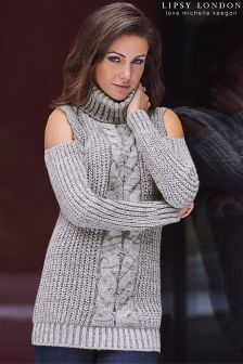 Lipsy Love Michelle Keegan Cold Shoulder Roll Neck Jumper