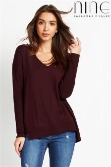 Nine By Savannah Miller V neck Pointelle Jumper