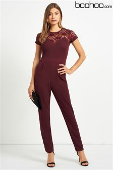 Boohoo Lace Neck Detail Jumpsuit