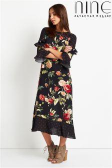 Nine By Savannah Miller Rose Print Midi Dress
