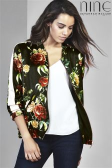 Nine By Savannah Miller Rose Print Bomber Jacket