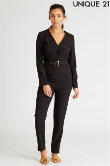 Unique 21 Belted Wrap Jumpsuit