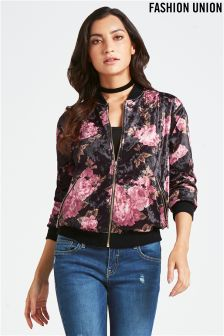 Fashion Union Rose Bomber Jacket