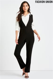 Fashion Union Shirt Insert Jumpsuit