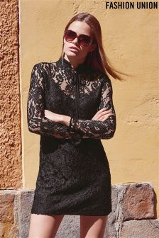 Fashion Union Sheer Lace Shift Dress