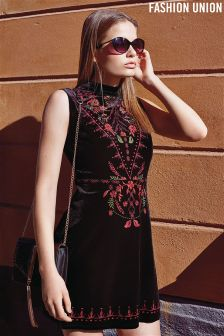 Fashion Union High Neck Velvet Embroidered Skater Dress