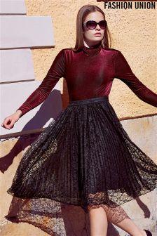 Fashion Union High Neck Velvet Bodysuit