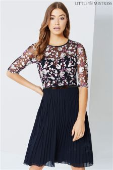 Little Mistress Floral Embroidered Midi Dress