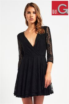 Wal G Lace V-neck Skater Dress